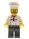 Minifig No: chef021  Name: Chef - White Torso with 8 Buttons, Dark Bluish Gray Legs, Gray Beard