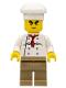 Minifig No: chef022  Name: Chef - White Torso with 8 Buttons, Dark Tan Legs, Bushy Eyebrows