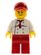 Minifig No: chef023  Name: Chef - White Torso with 8 Buttons, Red Legs and Red Cap with Hole (City Square Hot Dog Vendor)