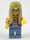 Minifig No: col305  Name: Flower Child, Dark Tan Long Hair, Orange Glasses and Tie Dye Shirt