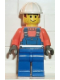 Minifig No: con002  Name: Overalls with Safety Stripe Blue, White Construction Helmet