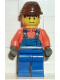 Minifig No: con005  Name: Overalls with Safety Stripe Blue, Brown Cavalry Cap