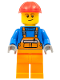 Minifig No: con011  Name: Overalls with Safety Stripe Orange, Orange Legs, Red Construction Helmet, Lopsided Smile