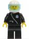 Minifig No: cop004  Name: Police - Zipper with Badge, Black Legs, White Helmet, Trans-Light Blue Visor