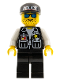 Minifig No: cop009  Name: Police - Sheriff Star and 2 Pockets, Black Legs, White Arms, Black Cap with Police Pattern