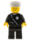 Minifig No: cop013  Name: Police - Zipper with Badge, Black Legs, White Hat