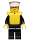 Minifig No: cop017  Name: Police - Suit with 4 Buttons, Black Legs, White Hat, Life Jacket
