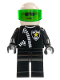 Minifig No: cop018  Name: Police - Zipper with Sheriff Star, White Helmet, Trans-Green Visor