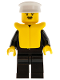 Minifig No: cop021  Name: Police - Suit with Sheriff Star, Black Legs, White Hat, Life Jacket