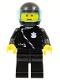 Minifig No: cop027  Name: Police - Zipper with Badge, Black Legs, Black Helmet, Trans-Light Blue Visor