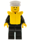 Minifig No: cop030  Name: Police - Zipper with Badge, Black Legs, White Hat, Life Jacket