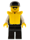 Minifig No: cop033  Name: Police - Sheriff Star and 2 Pockets, Black Legs, White Arms, Black Cap, Life Jacket