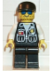 Minifig No: cop039  Name: Police - Sheriff Star and 2 Pockets, Black Legs, White Arms, Black Cap, Blue Sunglasses
