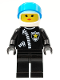 Minifig No: cop047  Name: Police - Zipper with Sheriff Star, White Helmet, Trans-Dark Blue Visor, Female