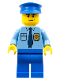 Minifig No: cop054  Name: Police - City Shirt with Dark Blue Tie and Gold Badge, Blue Legs, Blue Police Hat, Scowl