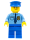 Minifig No: cop055  Name: Police - City Shirt with Dark Blue Tie and Gold Badge, Blue Legs, Blue Police Hat, Crooked Smile