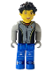 Minifig No: cre004  Name: Max, Black Torso, Light Gray Arms, Blue Legs