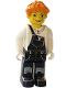Minifig No: cre006  Name: Lee, Orange Hair, Black Legs, Black and White Torso