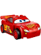 Minifig No: crs018  Name: Lightning McQueen - Red, 'Rust-eze' in Fancy Script