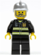 Minifig No: cty0004  Name: Fire - Reflective Stripes, Black Legs, Silver Fire Helmet, Gray Beard