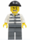 Minifig No: cty0007  Name: Police - Jail Prisoner 50380 Prison Stripes, Dark Bluish Gray Legs, Black Knit Cap, Gold Tooth