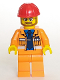 Minifig No: cty0015  Name: Construction Foreman - Orange Jacket with Blue Shirt, Dark Blue Tie, Red Construction Helmet