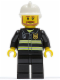 Minifig No: cty0022  Name: Fire - Reflective Stripes, Black Legs, White Fire Helmet, Brown Beard Angular