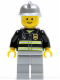 Minifig No: cty0036  Name: Fire - Reflective Stripes, Light Bluish Gray Legs, Silver Fire Helmet, Standard Grin