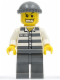 Minifig No: cty0040  Name: Police - Jail Prisoner 50380 Prison Stripes, Dark Bluish Gray Legs, Dark Bluish Gray Knit Cap, Gold Tooth