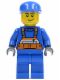 Minifig No: cty0042  Name: Overalls with Safety Stripe Orange, Blue Legs, Blue Cap, Smirk and Stubble Beard
