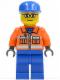 Minifig No: cty0053  Name: Ground Crew - Orange Zipper, Safety Stripes, Orange Arms, Blue Legs, Blue Cap, Glasses