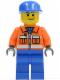 Minifig No: cty0054  Name: Ground Crew - Orange Zipper, Safety Stripes, Orange Arms, Blue Legs, Blue Cap, Smirk and Stubble Beard