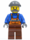 Minifig No: cty0064  Name: Overalls with Safety Stripe Orange, Reddish Brown Legs, Dark Bluish Gray Knit Cap