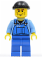 Minifig No: cty0076  Name: Overalls with Tools in Pocket Blue, Black Knit Cap, Cheek Lines