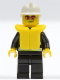 Minifig No: cty0085  Name: Fire - Reflective Stripes, Black Legs, White Fire Helmet, Orange Sunglasses, Life Jacket