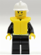 Minifig No: cty0086  Name: Fire - Reflective Stripes, Black Legs, White Fire Helmet, Smirk and Stubble Beard, Life Jacket