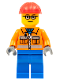 Minifig No: cty0110  Name: Construction Worker - Orange Zipper, Safety Stripes, Orange Arms, Blue Legs, Red Construction Helmet, Glasses
