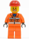 Minifig No: cty0111  Name: Construction Worker - Orange Zipper, Safety Stripes, Orange Arms, Orange Legs, Red Construction Helmet, Beard around Mouth