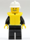 Minifig No: cty0116b  Name: Fire - Reflective Stripes, Black Legs, White Fire Helmet, Thin Grin with Teeth, Life Jacket