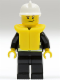 Minifig No: cty0117b  Name: Fire - Reflective Stripes, Black Legs, White Fire Helmet, Crooked Smile, Life Jacket