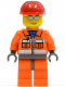 Minifig No: cty0125  Name: Construction Worker - Orange Zipper, Safety Stripes, Orange Arms, Orange Legs, Dark Bluish Gray Hips, Red Construction Helmet, Silver Sunglasses