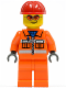 Minifig No: cty0132  Name: Construction Worker - Orange Zipper, Safety Stripes, Orange Arms, Orange Legs, Red Construction Helmet, Orange Glasse