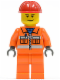 Minifig No: cty0137  Name: Construction Worker - Orange Zipper, Safety Stripes, Orange Arms, Orange Legs, Red Construction Helmet, Scowl