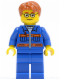 Minifig No: cty0140  Name: Blue Jacket with Pockets and Orange Stripes, Blue Legs, Dark Orange Short Tousled Hair, Glasses