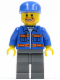 Minifig No: cty0141  Name: Blue Jacket with Pockets and Orange Stripes, Dark Bluish Gray Legs, Blue Cap, Beard around Mouth