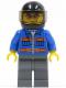 Minifig No: cty0151  Name: Blue Jacket with Pockets and Orange Stripes, Dark Bluish Gray Legs, Black Helmet, Orange Sunglasses