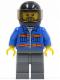 Minifig No: cty0152  Name: Blue Jacket with Pockets and Orange Stripes, Dark Bluish Gray Legs, Black Helmet, Gray Beard