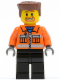 Minifig No: cty0154  Name: Construction Worker - Orange Zipper, Safety Stripes, Orange Arms, Black Legs, Reddish Brown Flat Top Hair, Beard around Mouth