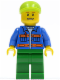 Minifig No: cty0162  Name: Blue Jacket with Pockets and Orange Stripes, Green Legs, Lime Short Bill Cap