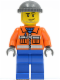 Minifig No: cty0168  Name: Construction Worker - Orange Zipper, Safety Stripes, Orange Arms, Blue Legs, Dark Bluish Gray Knit Cap